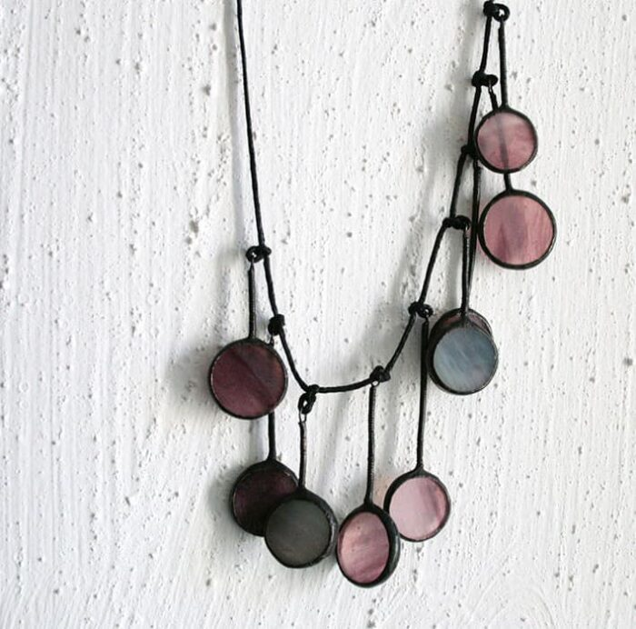 Purple Circles Statement Necklace