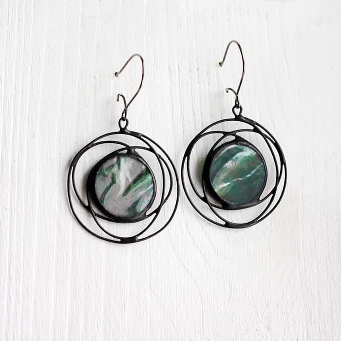 Green Iridescent Galaxy Earrings
