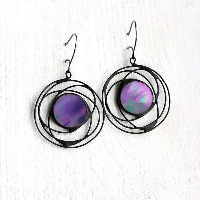 Blue Iridescent Galaxy Earrings