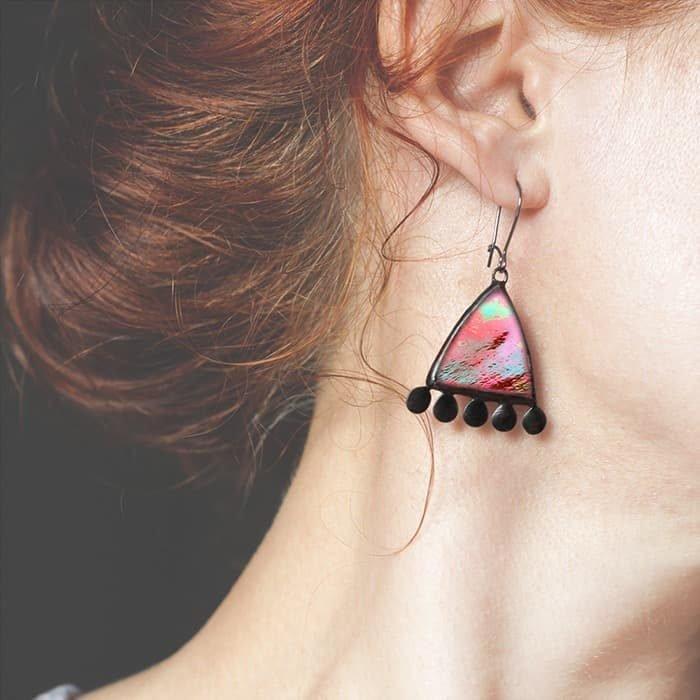 Dichroic Red Earrings
