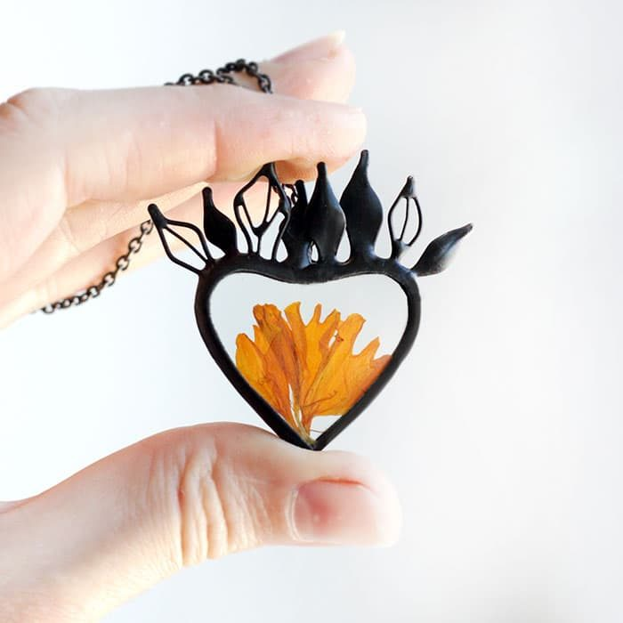 Marigold Petals Terrarium Heart Necklace