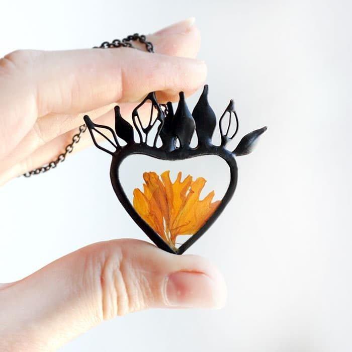 Marigold Petals Terrarium Heart Necklace