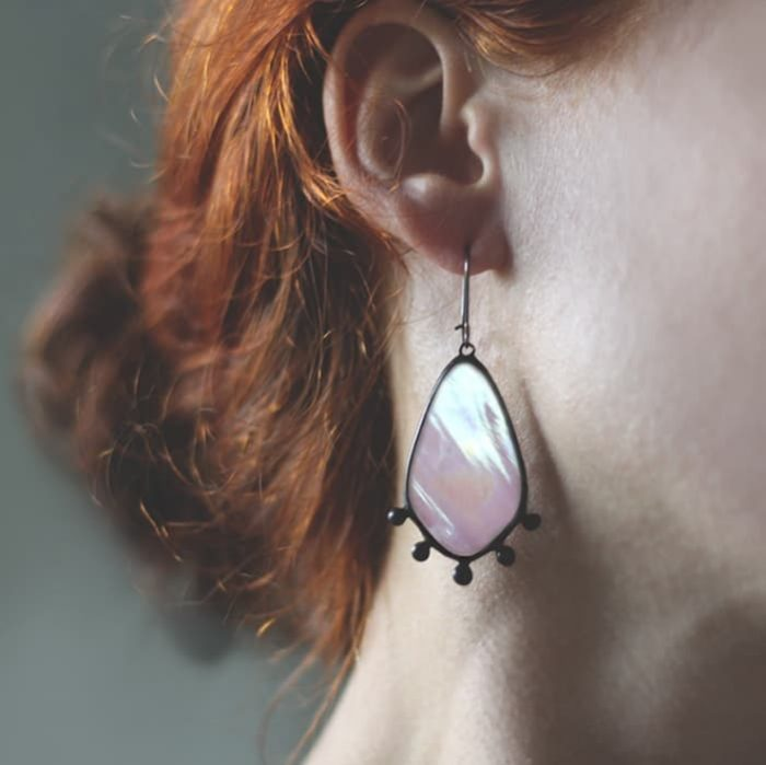 Iridized Soft Pink Earrings