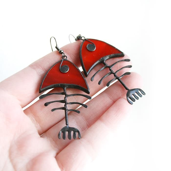 big fishbone earrings