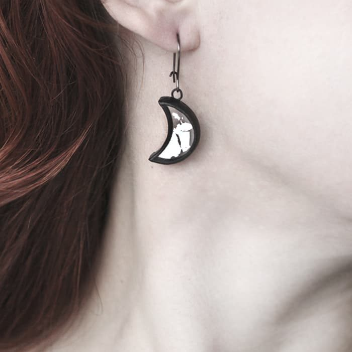 Silver Half Moon Earrings