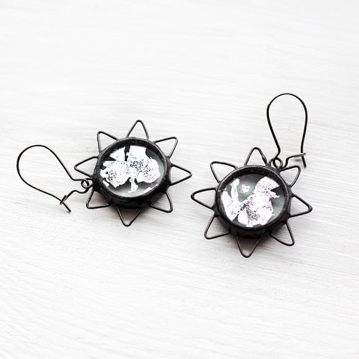Silver Sun Terrarium Earrings