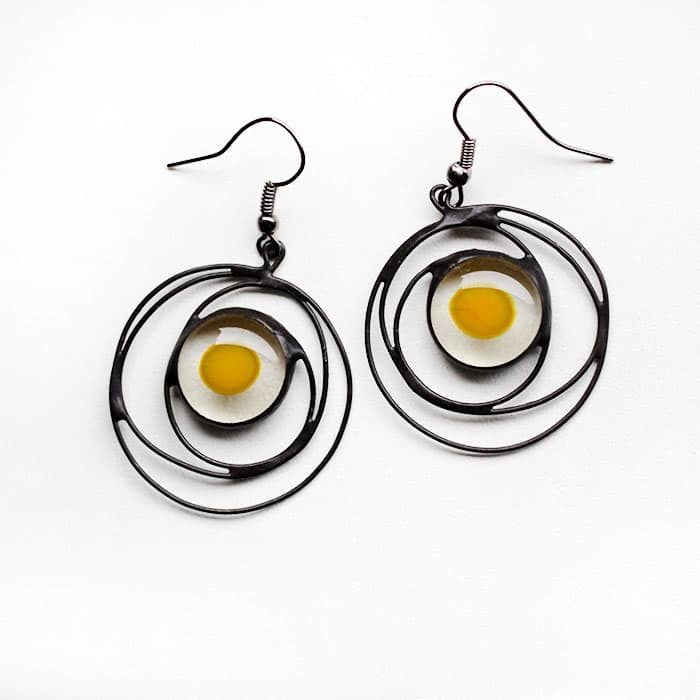 fried eggs galaxy earrings