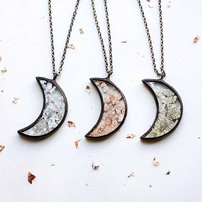 Terrarium half moon necklace