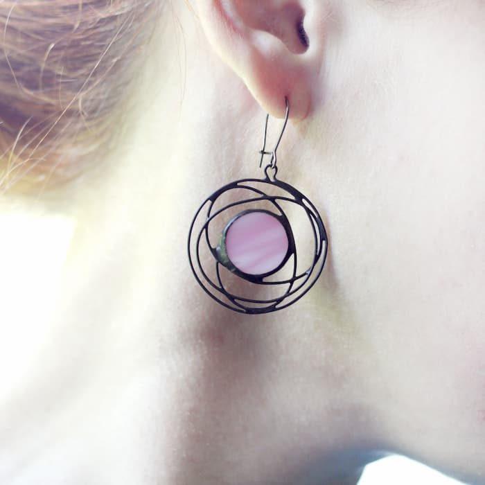 Pink galaxy earrings