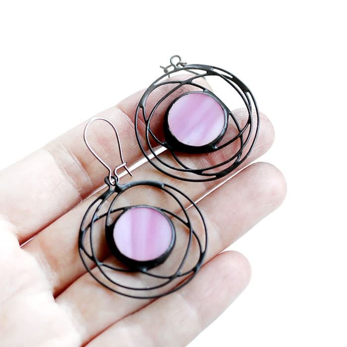 Pink galaxy earrings