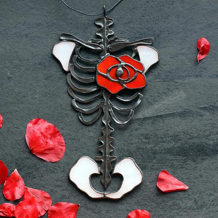 Anatomic Skeleton with Red Rose Heart
